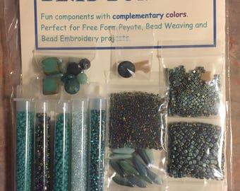 Bead Bundles turquoie teal green and much more Freeform Bead Embroidery