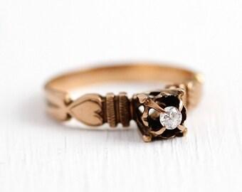 Sale - Antique Diamond Ring - Edwardian 10k Rose Gold Old European Cut - Vintage Size 7 1/2 Raised Solitaire Engagement Heart Fine Jewelry
