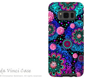 Floral Case for Samsung Galaxy S8 - Purple, Blue and Pink Paisley S 8 Case with Art - Frilly Floratopia - Dual Layer Case by Da Vinci Case