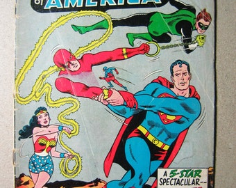 Old Comic Book, Justice League of America #25, DC Comic, National Comic, Superman, Flash, Green Lantern, Wonder Woman, Atom, 1960s