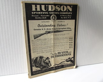 1930s 40s Hudson Sporting Goods Company Guns and Ammo Catalog