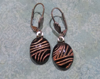 Stripe Dichroic Earrings, Orange Brown Dangle Earring, Leverback Earrings, Gift for Her, Fused Glass Jewelry - Rene -6