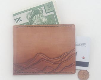 Slim  Leather Wallet - Mountain Design