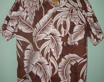 1940s style Mens shirt, coffee banana leaf print