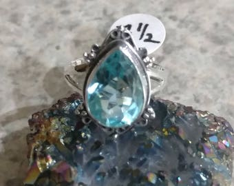 Blue Topaz Party Ring Size 7 1/2