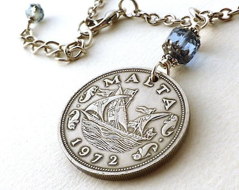 Nautical necklace, Vintage 1972 Maltese coin necklace, Coin jewelry, Sailing necklace, Boats, Ships, Sapphire bead, Nautical jewelry, Malta