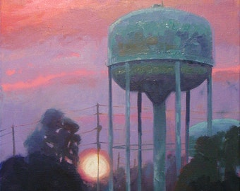 Water Tower Sunset oil painting