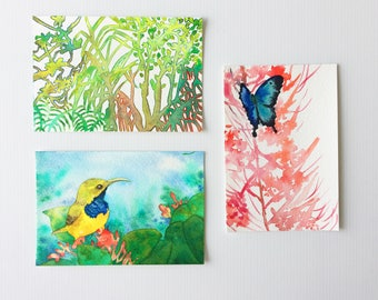 Bali heart of nature - set of 3 original paintings
