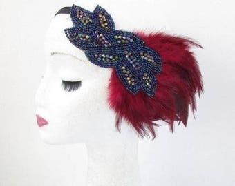 Burgundy Red Blue Black Feather Headpiece 1920s Headband Flapper Gatbsy Vtg 4810