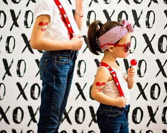 mom and dad temporary tattoos funny fathers day gift cute fake tattoo for kids 2 large red heart tattoos photoshoot prop photographer supply