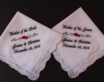 Mother of the Bride gift, Mother of the Groom Handkerchief, wedding gift, set of 2 wedding hankie, Wedding hanky,embroidered LS0F38