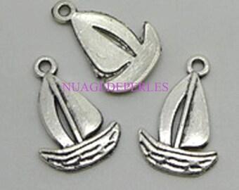 3 charms Tibetan silver boat pendant