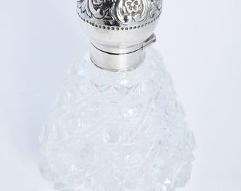 Silver Mounted Cut Glass Perfume Bottle 1889