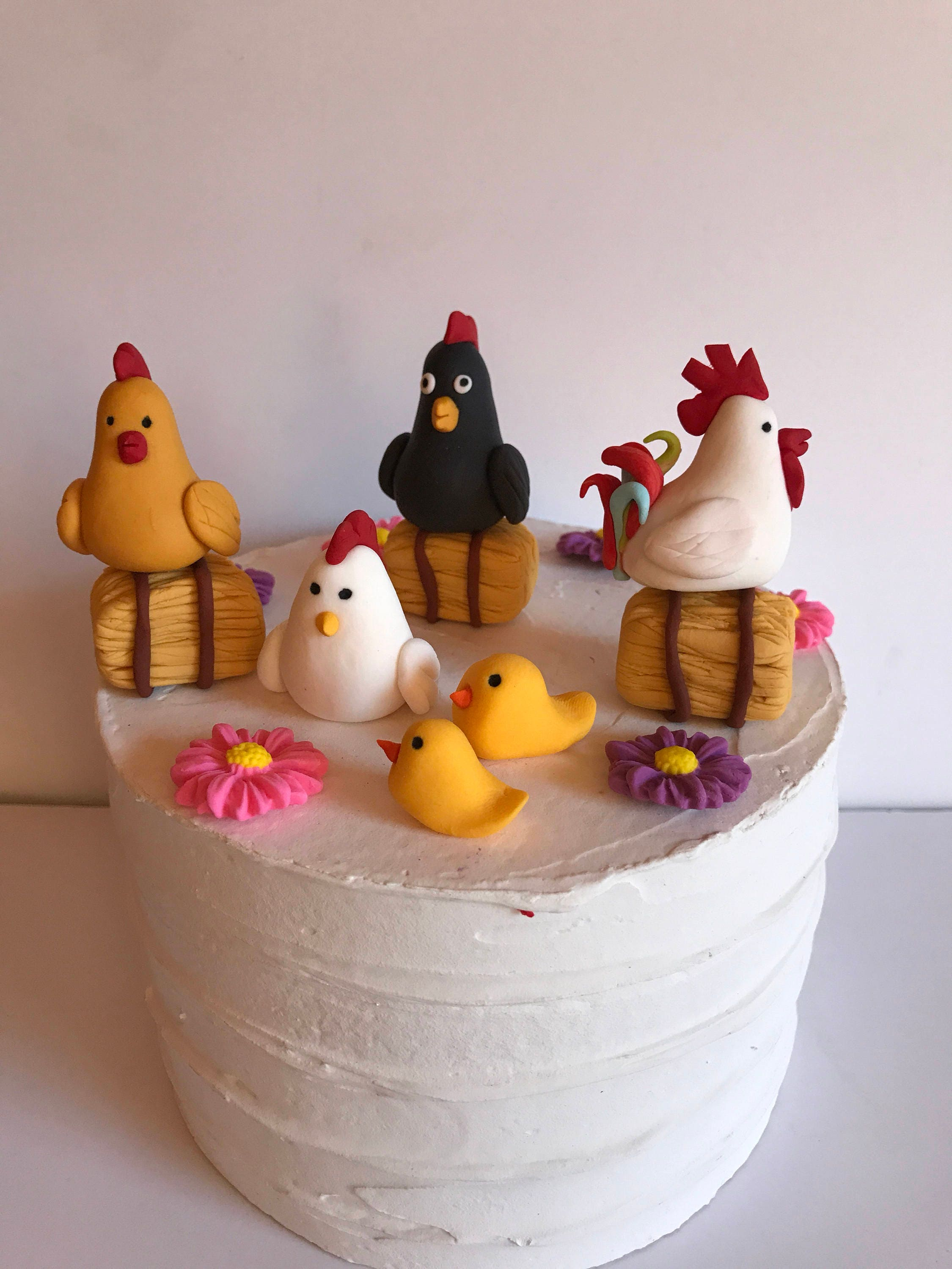 Fondant Chicken Coop Cake Decoration Retirement Party Birthday Cake