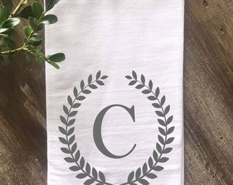 Monogrammed Farmhouse Flour Sack Tea Towel, Personalized Kitchen Tea Towel, Wedding gift, Anniversary Gift, Housewarming Gift BLACK or GRAY