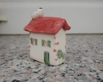 Little Ceramic House,Tiny Clay House with bird,Cute Small House,Tiny Ceramic House,Fairy House,Tiny village,Terrarium House,bird on roof