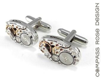 Steampunk Cufflinks Mens Steampunk Cuff Links - Soldered Watch Movement - Mechanical Watches - Steampunk Jewelry by Compass Rose Design