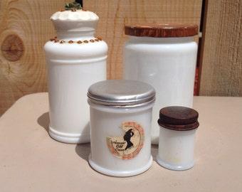 Vintage White Milk Glass Jars (4)