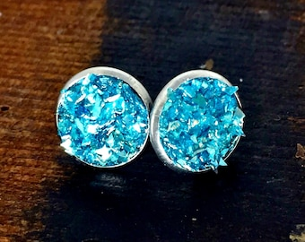 Glass Glitter Turquoise Post Style Earrings, Druzy Look Earrings, Turquoise and Silver Earrings that Glitter and Sparkle, Stud Earrings