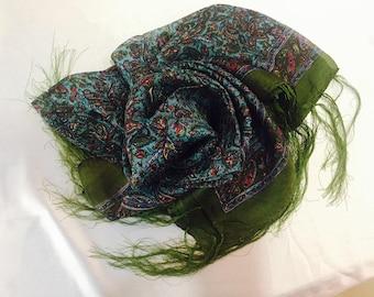 Silk print scarf. Multicolor scarf. Flower handkerchief.