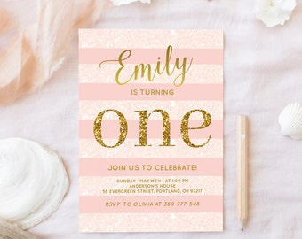 Pink And Gold Birthday Invitation Baby Girl First Birthday Party Invite Blush Pink And Gold Invite Glitter One Invitation Printable Digital