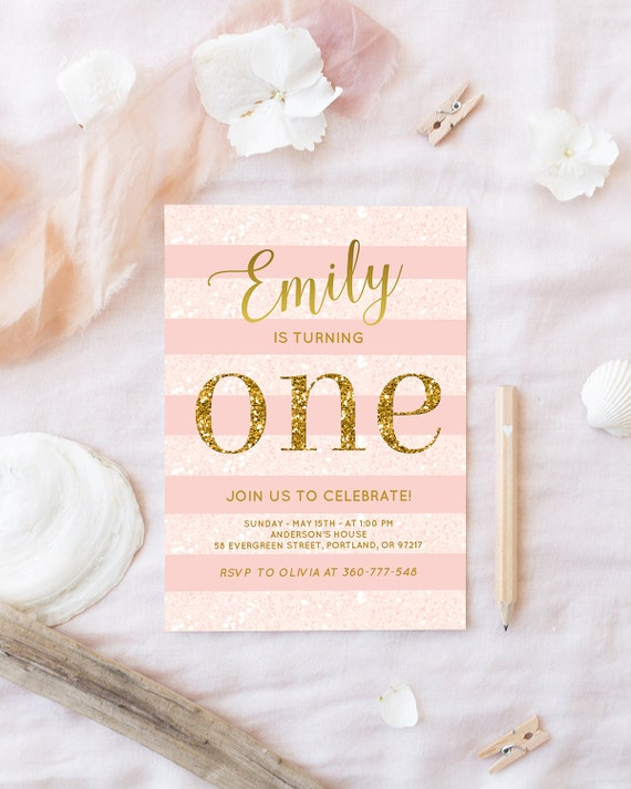 Pink and gold birthday invitation baby girl first birthday pink and gold birthday invitation baby girl first birthday party invite blush pink and gold invite glitter one invitation printable digital filmwisefo Gallery