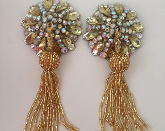 Champagne tone stones with crystal AB on gold base with tassel