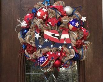 USA Khaki Mesh Wreath