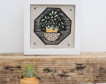 Succulent Framed Mini Fabric Picture/Square Picture/ Fabric Print