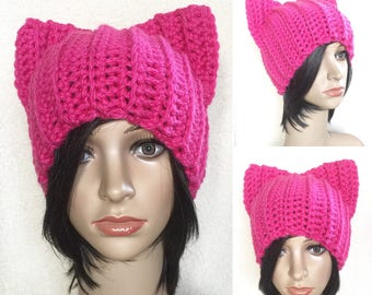 Pink Pussycat hat | Pussy Cat Beanie | Cat Hat | PussyCat Hat project | PussyHat | Crochet | Thermal | Women's Rights | READY TO SHIP