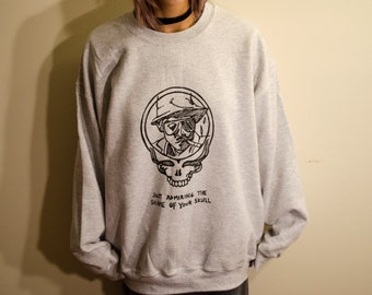 """Grateful Dead, Hunter S. Thompson sweatshirt and crewneck """"Just admiring the shape of your skull"""" limited stealie tie dye, fear and loathing"""