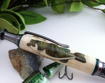 Badass Bass Wood Inlay Personalized Writing Pen - Free Engraving