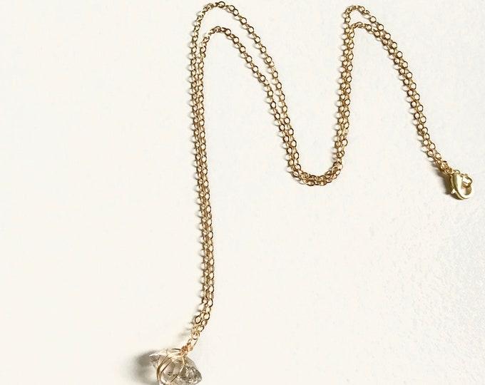 Horizon Herkimer Diamond Quartz Necklace - Long Gold Wirewrapped Raw Crystal Quartz Dainty Pendant Luxe Jewelry
