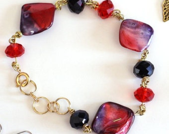 Red, Black and Gold Linked Bracelet with gemstones and crystals - Womens Fashion Jewelry Accessories