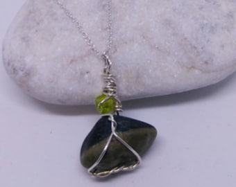 Lake Erie Pebble Pendant on 20in Sterling Silver Chain