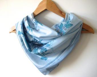 Vintage Scarf Blue Flower Floral Vintage Summer Designer Scarf