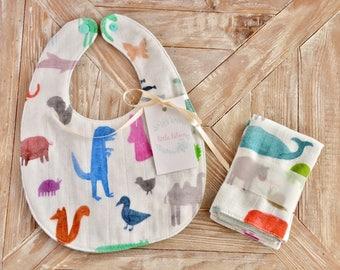 Boys Bib and 2 Washcloths Set- Baby Bib Set-Cotton Muslin Bibs-Cotton Double Gauze Bibs-Reversible Bibs- Muslin Washcloths-Wild Animals