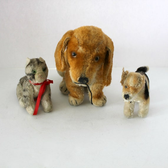 3 Antique Steiff Mohair Animals Dogs Cat | Dachshund with Button, Airedale Terrier, Jointed Tabby Kitten | 1930s Antique Stuffed Toys