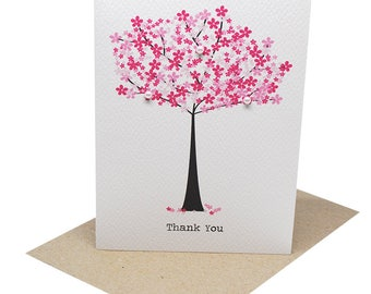 Thank You Card | Pink Cherry Blossom Tree | Handmade Card Thank You | Greeting Card Thank You | Wedding Thank You Greeting Card | THY024