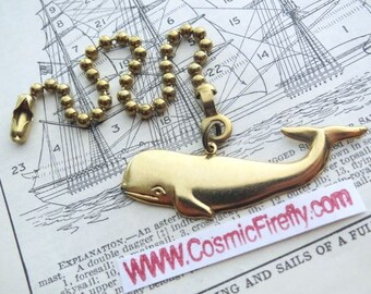 Small Whale Fan Pull Chain Steampunk Fan Pull Ocean Sea Life Ceiling Fan Pull Antiqued Brass Sperm Whale Moby Dick Handcrafted Made In USA