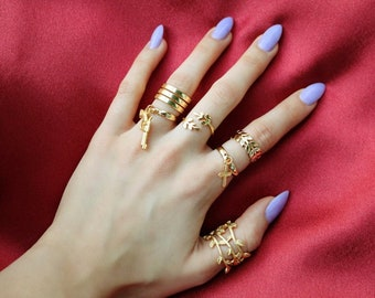 Gold Rings - Gold Plated - Adjustable Ring