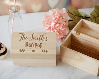 Recipe Box, Custom Engraved Recipe Box, Family Recipe Box, Mother's Day Gift, Grandmas Recipes, Recipe Storage Box, House Warming Gift