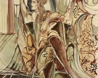 Guest's Return Original Painting Dracula Bram Stoker Gothic Androgynous Figure Drawing Bat Wings Art Nouveau Classic Horror Elegance Hunter