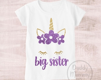 Big Sister Unicorn Shirt Big Sister Shirt Unicorn Big Sister Shirt Girl Unicorn Shirt Big Sister Gift Big Sister Announcement Shirt Big Sis