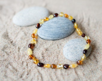 Baltic Amber Teething Necklace for Baby or Child /  Amber Teething necklace  / Necklace for Child / Gift for child / Multicolored