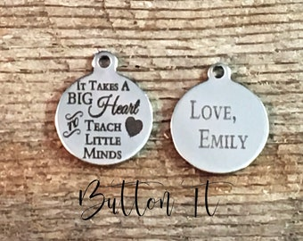 Engrave the BACK of a stainless steel charm on any BUTTONIT order- personalized charm, add a charm, custom charm, personalized jewelry