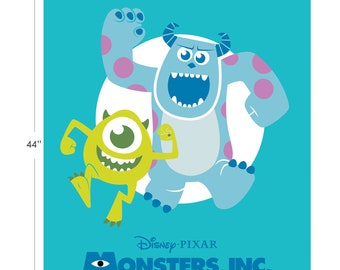 Disney Fabric Monsters Inc Panel in Turquoise From Camelot 100% Premium Cotton
