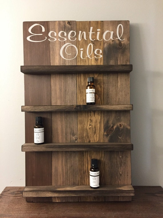 Essential Oil Storage Wooden Sign Wall Shelves Bath