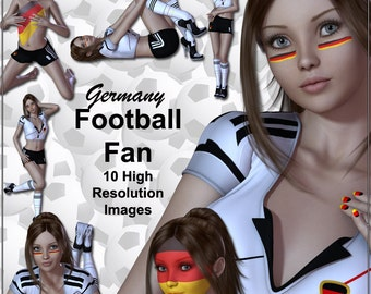 Germany Football Fan Digital Clip Art International Soccer Clip Art Other Teams Available - Ideal for Card Making Football Clip Art