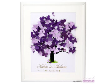 Wood frame - guestbook wedding wedding tree Butterfly 3D butterflies modern alternative to the traditional guest book